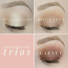 ShadowSense Trio: Sandstone Pearl Shimmer, Moca Java, Garnet message me via my Facebook Page at www.facebook.com/Kimms-Beauty-Buzz-393917160958048/ to get yours