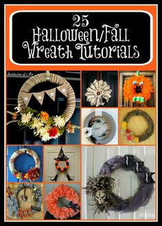 25 Halloween and Fall Wreath Tutorials - perfect #DIYprojects for #Halloween - #Autumn #DIYcrafts #Fallwreath #Halloweencrafts