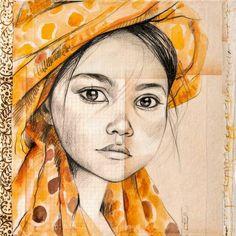 Drawing Portraits - sweetdood: A la découverte de Stéphanie Ledoux, artiste globe-trotteuse. Discover The Secrets Of Drawing Realistic Pencil Portraits.Let Me Show You How You Too Can Draw Realistic Pencil Portraits With My Truly Step-by-Step Guide. Portrait Au Crayon, L'art Du Portrait, Pencil Portrait, Pencil Drawings, Art Drawings, Drawing Portraits, Art Visage, Amazing Drawings, Drawing Faces