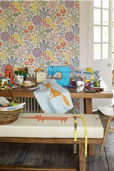 Fabric, Mr fox, ref 120071 and ref 120072, Scion. Wallpaper, ref 1305, Hanna Werning at Borastpeter.