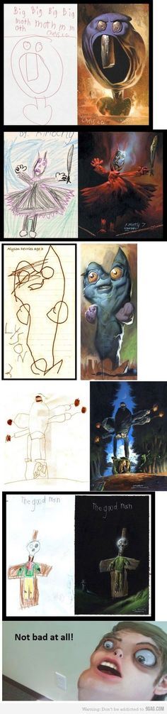What is children's drawings looked realistic?