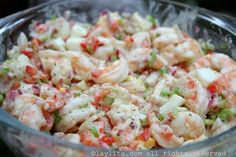 Easy shrimp salad recipe made with cooked shrimp, red onion, radish, bell pepper, egg, celery, and cilantro mayonnaise.