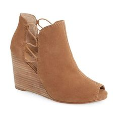 "Lucky Brand 'Reevas' Wedge Peep Toe Bootie, 3"" heel ($109) ❤ liked on Polyvore featuring shoes, boots, ankle booties, sesame suede, cut out booties, wedge ankle boots, lace up wedge ankle booties, high heel booties and ankle boots"