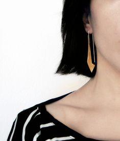 Long Dangle Brass Earrings - brass dangle earrings, long earrings, geometric earrings, golden earrings, bohemian earrings, made in Italy by alibli on Etsy