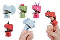 The Spoon Sisters Dino Finger Puppets - 4 Finger Puppets To Make Yourself Finger Puppet Patterns, Finger Puppets, Diy And Crafts, Crafts For Kids, Arts And Crafts, Puppets For Kids, Paper Crafts Origami, Creative Workshop, Paper Toys