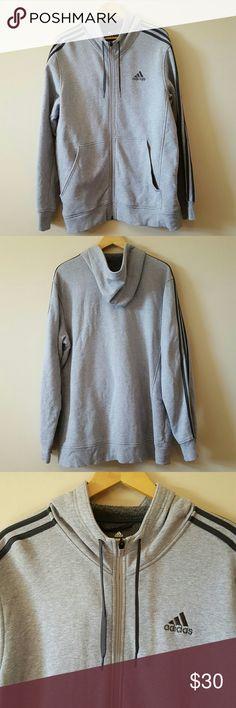 Adidas 3 Stripes Hoodie Full-Zip Jacket Gray XL Great condition 85% cotton / 15% polyester Adidas Shirts Sweatshirts & Hoodies