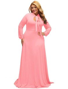 0305597b57543 Lalagen Women s Vintage Long Sleeve Plus Size Evening Party Maxi Dress Gown  For Curvy Women