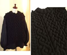 FALL 2019 F/W COCOdake COuture  Hand knitted Black Aran Cable knit Bobbles Fisherman's Sweater Vest Oversized Boxy Relax fit US 8 - US 9 Large COCOdake COuture Italian Wool Couture Collection, Cable Knit, Hand Knitting, Relax, Vest, Wool, Skirts, Sweaters, Shopping