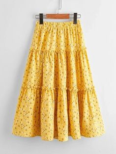 Girls Ditsy Floral Layered Frilled Trim Skirt – Kidenhouse Yellow Pattern, Ditsy Floral, Tie Dye Skirt, Midi Skirt, Kids Wear, Layers, No Frills, Boho, Girl Skirts
