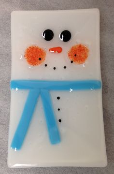Fused Glass Snowman Plate