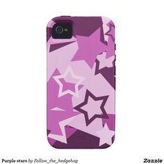 Purple stars iPhone 4/4S case