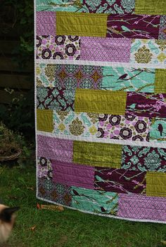 Joel Dewberry Aviary line Quilt | I added 2 matching Kona so… | Flickr