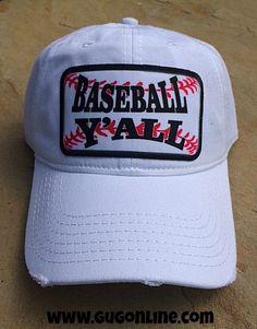 White Baseball Y'all Cap