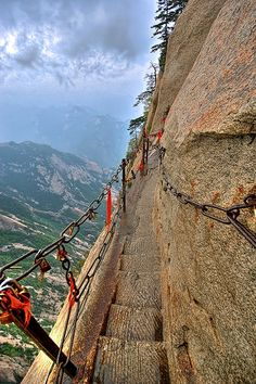 The rock-carved path of Mt. Huashan in Shaanxi, China (by CKTravelblog).