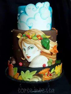 Autumn portrait #cakedesign #cake #paintedcake #torteintesta #autumn #autunno #cdif #cakedesignitalia