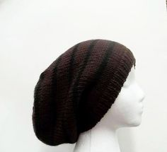 Oversized beanie hat wool brown and black - Available at:    http://www.CaboDesigns.etsy.com