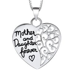 "Sterling Silver Half Heart Hollowed out Half Engraved ""Mother and Daug 