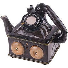 Telephone Teapot: Decorative ceramic teapot brings back mid-century memories! Whimsical designed telephone features fun handpainted…