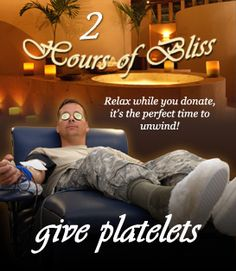 One platelet donation provides the same amount of platelets as six whole blood donations! Learn more about donating platelets to the ASBP here: http://www.militaryblood.dod.mil/Donors/about_platelets.aspx.    Donate today: www.militaryblood.dod.mil.