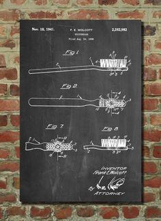 Toothbrush Patent Art, Dental Art, Dental Office Decor, Dentist Office, Bathroom Poster by PatentPrints on Etsy https://www.etsy.com/listing/244024596/toothbrush-patent-art-dental-art-dental