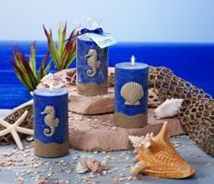 "Ocean Paradise - Sea World Blue Ocean Mist Pillar Candle - Seahorse by Dolls Unlimited Omaha. $21.95. Size: 3"" W x 5"" H. Color: Dark Blue. Sea World - Blue Ocean Candle. 1 unit per order: ( You will receive a Seahorse candle). Scent : Ocean Mist. Very pretty dark blue pillar candle with seahorse design. The bottom of the candle is also accented in sea sand color. It has a refreshing ocean mist scent and makes you relax."