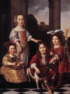Nicolaes Maes: Portrait of Four Children By Nicolaes Maes