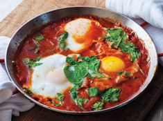 Shakshuka recipe... One pan, low carb, super delish. I do it in my cast iron skillet and forego putting any sugar in.
