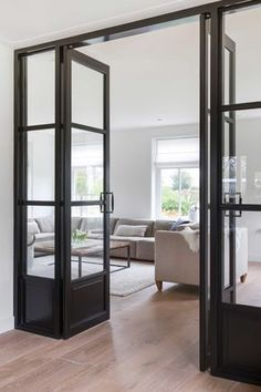 Loving interior windows and doors these days. What a great way to close off some private space while still having light throughout your house. Interior Windows, Interior Barn Doors, Exterior Doors, Interior Decorating, Interior Design, Decorating Kitchen, Decorating Ideas, House Doors, Door Design