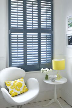 Contrast colourful shutters with you furnishings, Blue - yellow Wooden Window Shutters, Custom Shutters, Interior Window Shutters, Blue Shutters, Wood Shutters, Flur Design, Hallway Designs, Hallway Ideas, Arquitetura