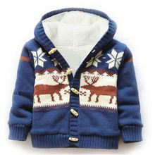 Baby snow wear coat Thick Climbing Clothes Newborn Boys Girls Warm sweater Jacket winter Christmas Deer Hooded Outwear(China (Mainland))