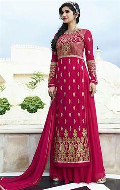 Picture of Spectacular Deep Pink Party Wear Palazo Salwar Kameez