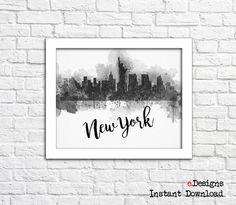 Printable New York Watercolor Decor New York Skyline by eDesignss
