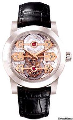 Girard Perregaux Triple Bridge Tourbillon $65,000 #GirardPerregaux #watch #watches #luxury #style #chronograph platinum case with crocodile skin bracelet and automatic movement