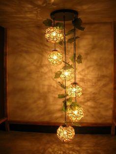 Woven six Balls Pendant Lights Living Room chandelier Lamp Rattan Pendant Light, Small Pendant Lights, Diy Pendant Light, Rustic Pendant Lighting, Copper Pendant Lights, Pendant Light Fixtures, Chandelier In Living Room, Chandelier Lamp, Living Room Lighting