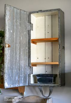 Old crate with shelves for wall storage - part of a funky wall cabinet gallery reveal via : www.funkyjunkinte...