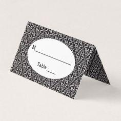 #elegant - #Classy Elegant Black White Damask Pattern Place Card