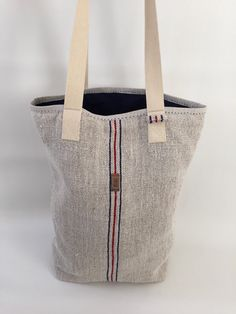 Vintage hungarian repurposed grain sack tote bag with hand stitched details, blue cotton lining, one big inside zippered pocket (cca 27 x 27 cm)