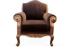 Howard Chair, Vintage, Velvet On Wood Frame With Silver-Leaf; Curated by Erinn Valencich for Erinn V. Maison