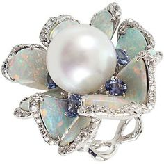 Pearl opal and sapphire diamond flower ring. Opal petals make for a hypnotizing wild piece. Opal Jewelry, I Love Jewelry, High Jewelry, Jewelry Rings, Jewelry Accessories, Jewelry Design, Unique Jewelry, Glass Jewelry, Jewelry Stores