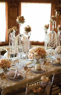"""1920's Vintage """"Great Gatsby"""" Wedding Reception Pearls and Roses."""