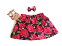 A personal favourite from my Etsy shop https://www.etsy.com/uk/listing/250775203/black-red-rose-skirt-matching-bow-clip