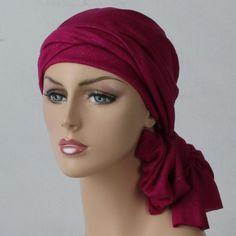 Hot Pink & Silver Head Wrap Turban Chemo Alopecia Head Scarf, gift