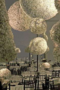 You can be eco-friendly and stunning! A stylized garden of sculpted topiary created from 6,000 pounds of shredded office waste. Cooper-Hewitt, National Design Museum, New York City.