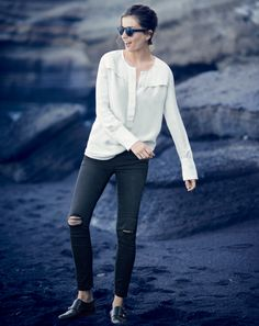 J.Crew women's covered-button crepe top and toothpick jean.