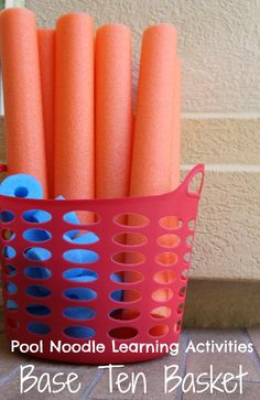 Build a Base Ten Math Game with Pool Noodles - Such a neat way for kids to learn numbers to 100!!!!