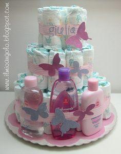 Torta farfalla (pannolini e prodotti per l'infanzia). Idea originalissima per un baby shower