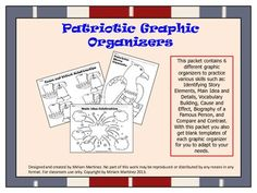This packet contains 6 different graphic organizers to practice various skills such as: Identifying Story Elements, Main Idea and Details, Vocabulary Building, Cause and Effect, Biography of a Famous Person, and  Compare and Contrast. With this packet you also get blank templates of each graphic organizer for you to adapt to your needs.