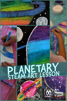 This lesson is far too fun! Students get to play with vinegar, baking soda and watercolor for their background! The powerpoint lesson plan shows students how to create an interesting composition and blend oil pastels. So much learning going on here! Oil Pastel Art, Oil Pastels, Drawing Lessons, Art Lessons, Math Activities For Kids, Steam Activities, Planet Project, Lesson Planet, Steam Art