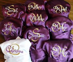 d9ca3b0ede Bridesmaid Gift Ideas - Satin Bridesmaid Robes - Monogrammed - Embroidered  - Personalized Getting Ready on
