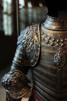 Rear view of the Lion Armour.  It was most likely made around 1550 for King Henri II.